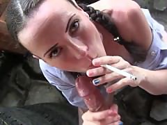 Wife\'s Cum Plaster.She is Sucks the Cock for a Cigarette- Sylvia Chrystall.