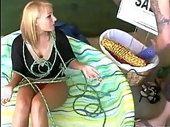 Horny milf strapped down for garage sale