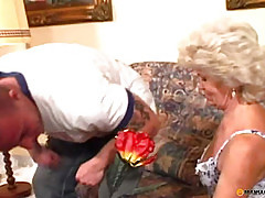 Woman with hairy pussy fucks with a man