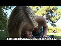 Ally Kay independent teen blonde babe with big ass doing blowjob outdoor