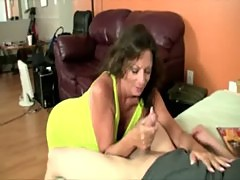 Milf is eager to tug and get naked for her stud
