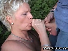 Mature amateur wife sucks and fucks outdoor with facial cums...