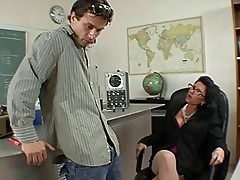 Badass milf does blowjob and titsjob for student and has pussy licked