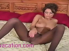 Gorgeous Milf Removes Tights To Show Tight Pussy