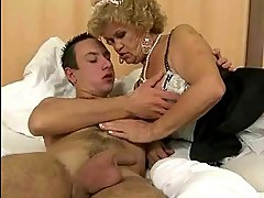 Naughty old maid fucking a boy