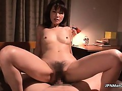 Asian housewife gets her hairy pussy
