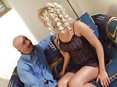 Hot blonde milf as bride does blowjob and undressing for big guy