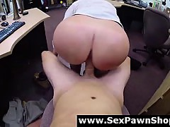 Big ass MILF amateur fucked for pawn cash on spy cam