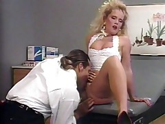 Big hair blonde gets fucked from behind in doctor\'s office