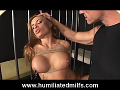 Milf roughly fucked in cage
