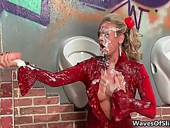 Nasty blonde whore gets her dirty face