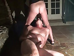 Husband Watches Wilfe Fucked on Patio and eats the Creampie