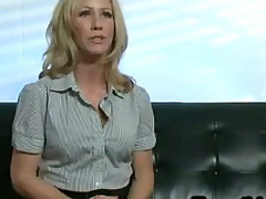 Blonde milf Simone Sonay licks round perfect ass in office