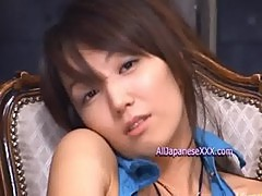 Cute Asian gets covered in cumload