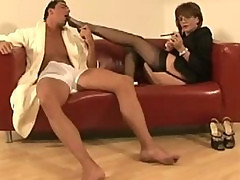 Mature stockinged femdom slut