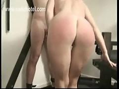 Milf slave bending over table is spanked on her well formed by master while husband is watching
