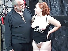 Redhead slut Kirsten sucks her master\'s cock then gets fucked and spanked