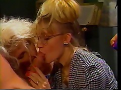 2 blondes share cock during blowjob