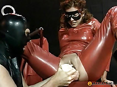 In her pussy shoves a toy wide