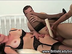 Strapon stockings hottie gets fucked