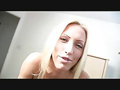 Blonde MILF gives a blowjob