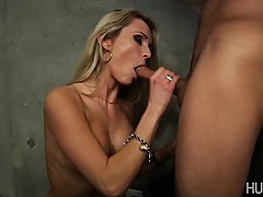Blonde having pussy devoured by horny guy