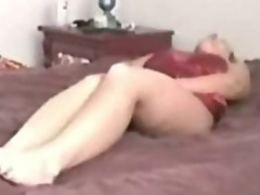 Hidden Cam My blonde Mom cums on her bed