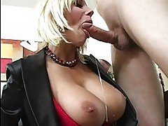 Adorable busty blonde milf sucking cock and getting pussy fucked