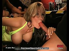 Awesome blonde in a bar gets horny when