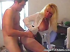 Hot Granny cougar in nylons fucks a young stud