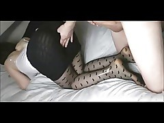 Hot wife in stockings on real homemade