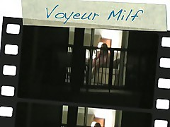 Hotel Window voyeur, catches MILF playing