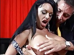 Heavy chested milf with black hair does deep throat