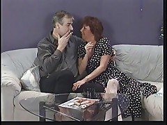 Mature brunette sucks husband\'s cock then eats young punk chick\'s pussy on sofa