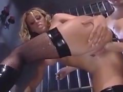Female Cop In Uniform And Stockings Seduces A Male Inmate