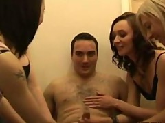 CFNM jerk loving sluts giving a group handjob