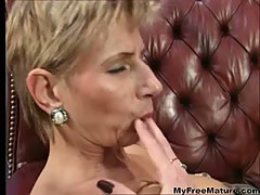 Old German Mom Having Fun With A Cute Brunette