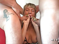 Busty french mature in lingerie double teamed