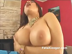 Huge boobs MILF with round ass and trimmed pussy bounces on big dick