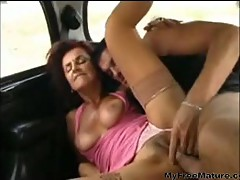 Sexy Mom 62 Redhead Granny In A Car With Man