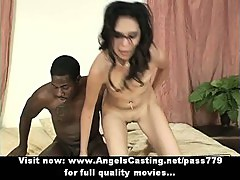 Lovely chick with black hair riding black cock and cumshot on face