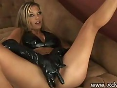 Leather Loving Anna Nova Makes Her Slave fuck her ass