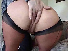 Dirty Mommy In Nylons Gets Her Pussy Licked, Fucked And Full...