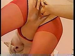 Cute blonde pussy filled with milk and fisted