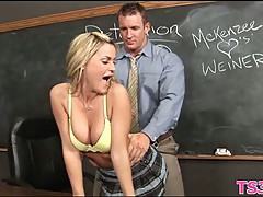 Girl serves a mature cock scene 7