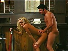 Blonde fucked in a bank