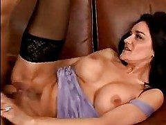 Bitchy milf Sami Scott getting her twat cracked by a monster cock on the couch