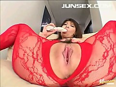 Busty Asian hottie solo action