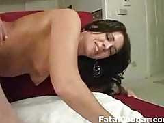 Thick cougar with small tits fucked in the kitchen then scre
