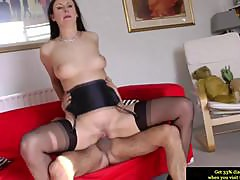 Euro MILF in stockings riding dick